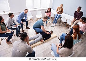 instruktor, technika, samiec, pokaz, masaż