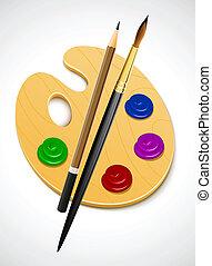 instrument, paleta, sztuka, rysunek