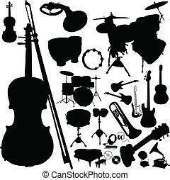 instrument, sylwetka, wektor, muzyka
