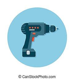 instrument zbudowania, ikony, płaski, dryl