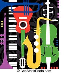 instrumentować, czarnoskóry, muzyka
