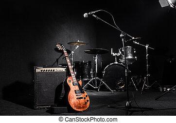 instrumentować, muzyczny, komplet, koncert, podczas