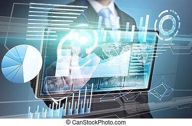 interfejs, biznesmen, technologia