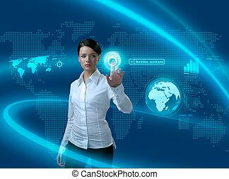 interfejs, kobieta interesu, przyszłość, rozłączenia, handlowy