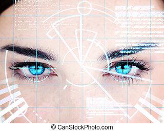 interfejs, kobieta, patrzył, błękitny