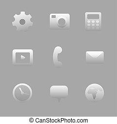 interfejs, komplet, ikona