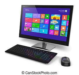 interfejs, komputer, touchscreen, desktop