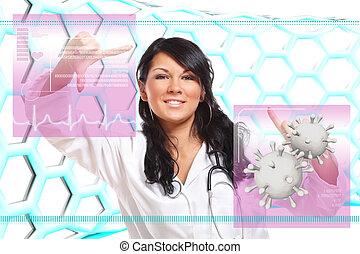interfejs, medycyna, futurystyczny, pracujący, doktor
