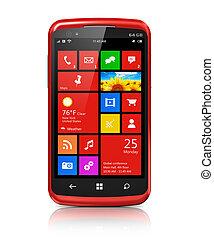 interfejs, nowoczesny, touchscreen, smartphone