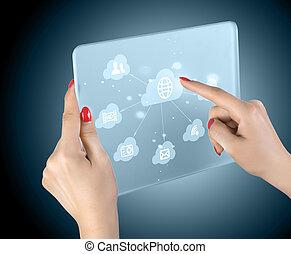 interfejs, touchscreen, chmura, obliczanie