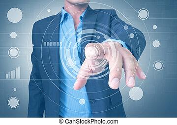 interfejs, używając, touchscreen, człowiek