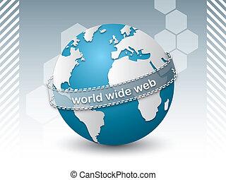 internet, złączony, sieć, ludzie