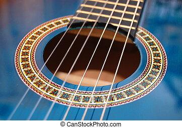 interpretacja, błękitny, partia, muzyka, gitara