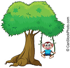 interpretacja, drzewo, małpa, huśtać się