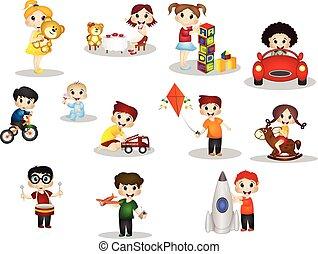 interpretacja, dzieci, zabawki