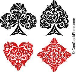 interpretacja, garnitur, dekoracyjny, karta, symbolika