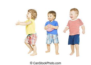 interpretacja, niemowlę, odizolowany, mała grupa, dzieci, toys., dzieciaki, biały