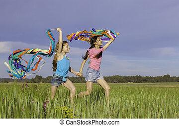 interpretacja, outdoors, szczęśliwy, zdrowy, dzieciaki