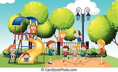 interpretacja, park, publiczność, dzieci
