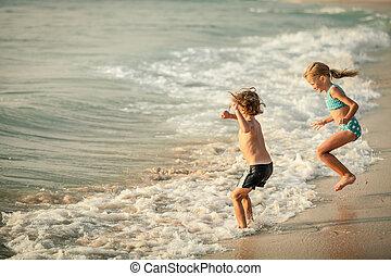 interpretacja, plaża, szczęśliwy, dzieci, dwa