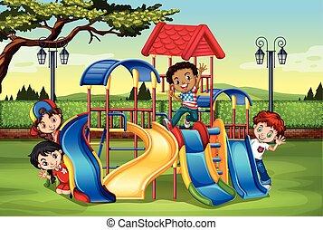 interpretacja, plac gier i zabaw, dzieci