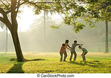 interpretacja, posiadanie, wcześnie, zabawa, rodzina, park, asian, rano