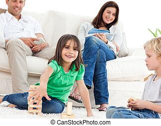 interpretacja, szczęśliwy, domino, żyjący, dzieci, pokój