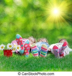 interpretacja, szczęśliwy, outdoors, dzieci