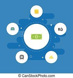 intratny, płaski, komplet, oddalony, finanse, elements., ikony, sztaba, sejf, zawiera, symbolika, również, wektor, komputer, dolar, objects., inny