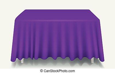 isolated., prostokątny, wektor, fioletowy stół, tablecloth, opróżniać