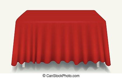 isolated., prostokątny, wektor, opróżniać, stół, tablecloth, czerwony