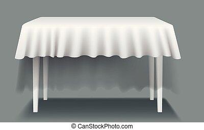 isolated., prostokątny, wektor, stół, biały, tablecloth, opróżniać