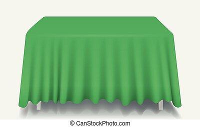 isolated., prostokątny, wektor, zielony stół, tablecloth, opróżniać