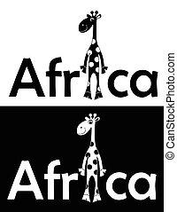 isolated., radosny, giraffe., komplet, wektor