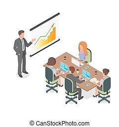 isometric, handlowa ilustracja, wektor, meeting., prezentacja, albo, 3d
