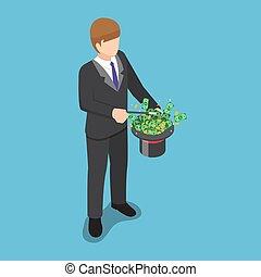 isometric, magia, pieniądze, korzystać, zrobienie, biznesmen, kapelusz