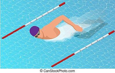 isometric, pływaczki, lanes., styl, wolny, różny, samiec, pływacki