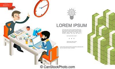 isometric, pojęcie, teamwork, handlowy