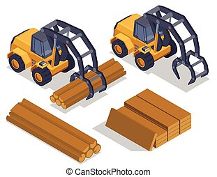 isometric, tartak, skład, buldozery