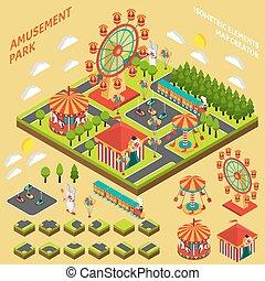 isometric, twórca, zabawowy park, mapa, skład