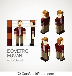 isometric, wektor, komplet, ludzki