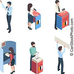 isometric., wybór, głosowanie, mówiące, wektor, litery, polityczny, politic, ludzie, kampania, sprawozdawca, głos