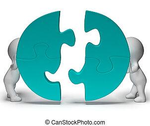 istota, pokaz, wyrzynarka, połączony, kawałki, teamwork, togetherness