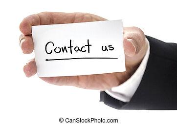 it., handlowy, na, odizolowany, na, ręka, tło., pisemny, kontakt, closeup, dzierżawa, biały, karta, człowiek