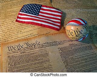 it., zjednoczony, konstytucja, stany, bandera, baseball, słówko, towarzyszyć, kopia