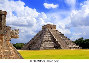 itza, chichen, piramida, mayan, kukulkan, wąż