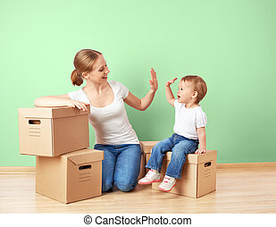 izba, córka, rodzina, ściana, przemieszczenie, kabiny, macierz, niemowlę, tektura, opróżniać, szczęśliwy