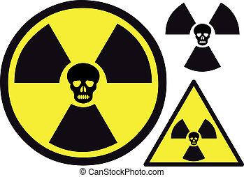 jądrowy, symbol, czaszka