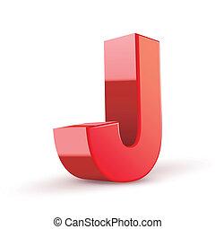 j, czerwony, litera, 3d