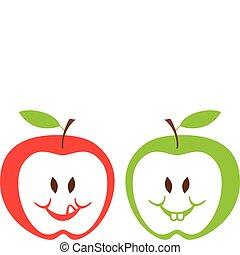 jabłka, wektor, zielony czerwony